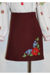 Спідниця для дівчинки «Панянка» бордового кольору