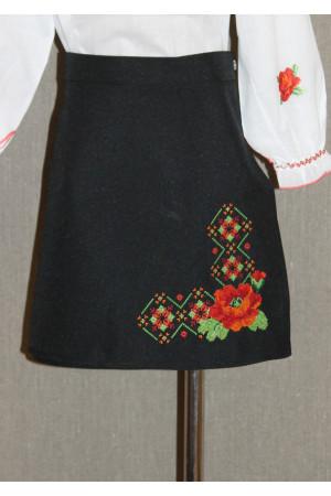 Спідниця для дівчинки «Яскраві маки» чорного кольору