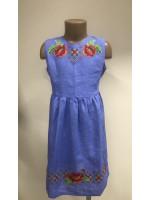 Сукня для дівчинки «Яскраві маки» блакитного кольору