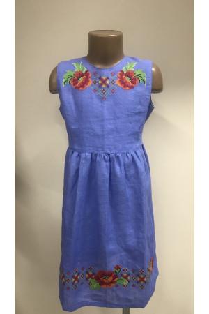 Платье для девочки «Яркие маки» голубого цвета