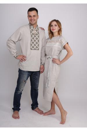 Семейный комплект «Мережка»: платье и мужская вышиванка