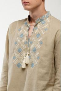 Вышиванка мужская «Спадок» бежевого цвета