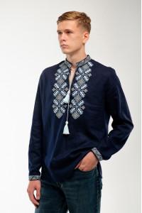 Вышиванка мужская «Спадок» темно-синего цвета