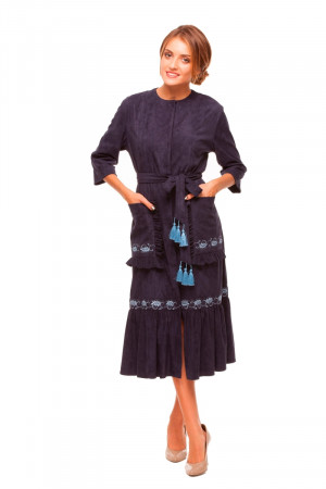 Платье «Колоски» темно-синего цвета