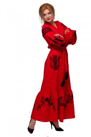 Платье «Восточный сад» красного цвета