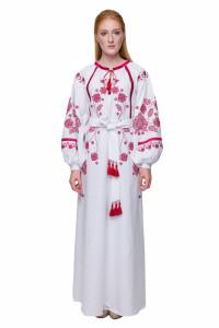 Платье «Громовица» с бордовой вышивкой