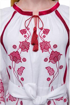 Сукня «Громовиця» з бордовою вишивкою