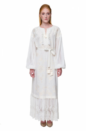 Платье «Мольфарка» молочного цвета