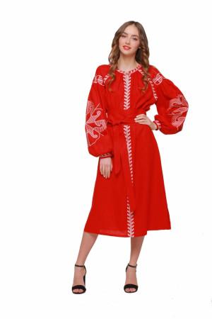 Платье «Веснянка» красного цвета