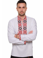 Мужская вышиванка «Цветы зари» с красно-черным орнаментом