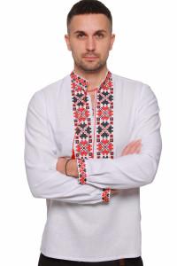 Чоловіча вишиванка «Квіти зорі» з червоно-чорним орнаментом
