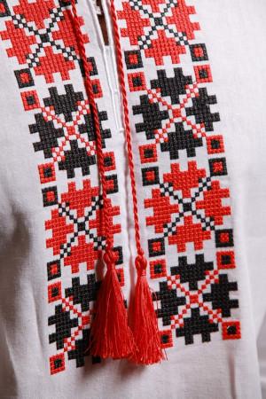 Вишиванка «Квіти зорі» з червоно-чорним орнаментом