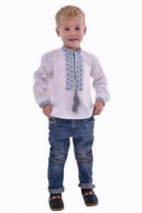 Вышиванка для мальчика «Две стихии» с голубым орнаментом