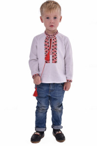 Вишиванка для хлопчика «Дві стихії» з червоним орнаментом