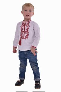 Вышиванка для мальчика «Гром» с красным орнаментом