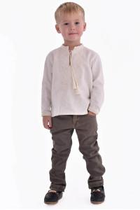Вышиванка для мальчика «Гром» молочного цвета