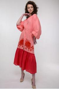 Сукня «Журавка» коралового кольору