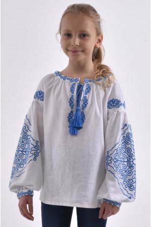 Вышиванка для девочки «Морозец» белого цвета