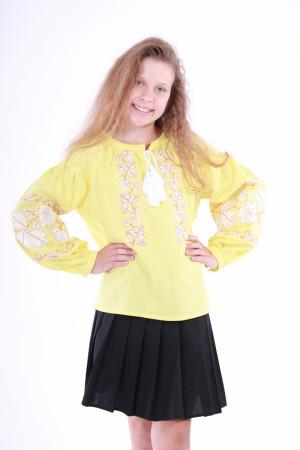 Вышиванка для девочки «Невесточка» желтого цвета