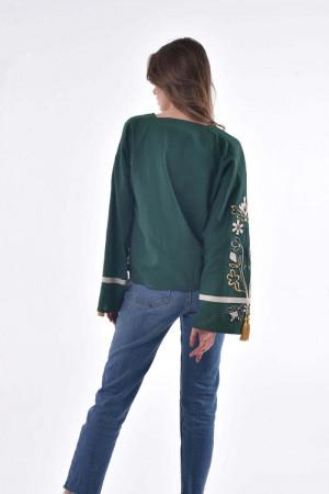 Вишиванка «Квітуча долина» темно-зеленого кольору