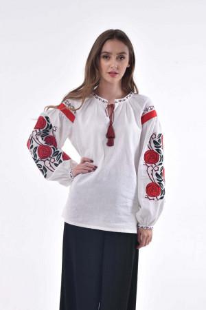 Вышиванка  «Дикая ружа» белого цвета