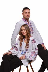 Комплект парних вишиванок для чоловіка та жінки «Ромби Косач»