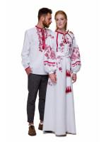 Вишитий комплект для чоловіка та жінки «Грім» з бордовою вишивкою