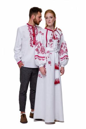 Вышитый комплект для мужчины и женщины «Гром» с бордовой вышивкой