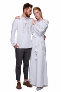 Вишитий комплект для чоловіка та жінки «Грім» з сріблястою вишивкою