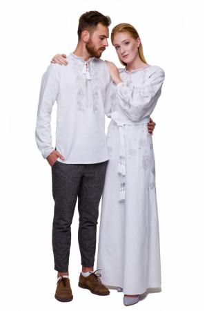 Вышитый комплект для мужчины и женщины «Гром» с cеребристой вышивкой