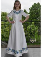 Платье для девочки «Васильки» белого цвета