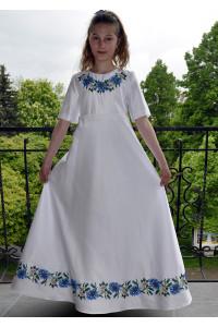 Сукня для дівчинки «Волошки» білого кольору