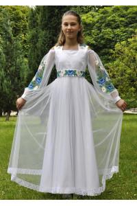 Сукня для дівчинки «Блакитні маки» білого кольору