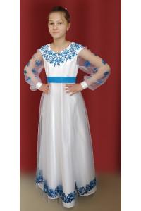 Сукня для дівчинки «Волошки» білого кольору з довгими рукавами
