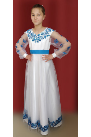 Платье для девочки «Васильки» белого цвета с длинными рукавами