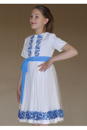 Сукня для дівчинки «Польові волошки» білого кольору