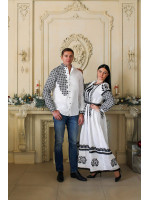 Вышиванка «Свитодар» белого цвета с черной вышивкой