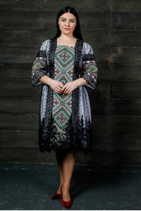 Платье «Чаруна» белого цвета с черной сеткой