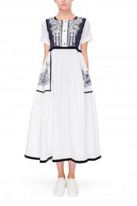 Платье «Милава» с синей вышивкой