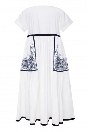 Сукня «Мілава» з синьою вишивкою
