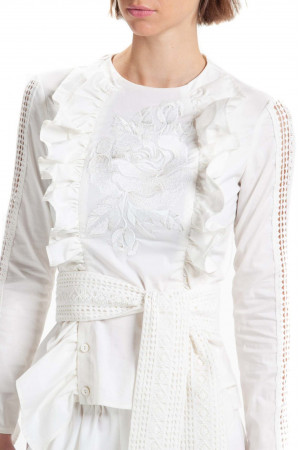 Вышитая блуза «Ярослава» белого цвета