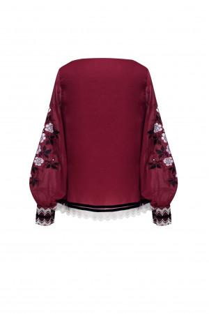 Вышиванка «Велислава» бордового цвета