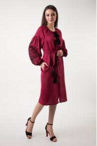 Платье «Дерево жизни» бордового цвета длины миди