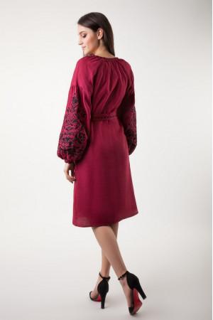 Сукня «Дерево життя» бордового кольору довжини міді