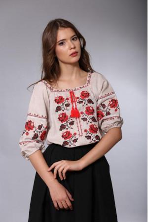 Вышиванка «Украина» бежевого цвета