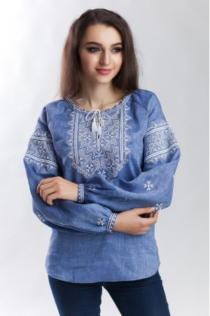 Вышиванка «Творимир» цвета джинс с длинным рукавом