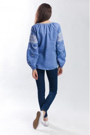 Вишиванка «Творимир» кольору джинс з довгим рукавом