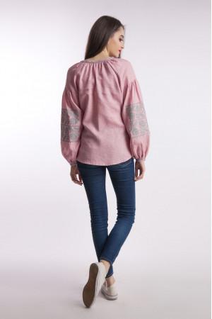 Вышиванка «Ломаная ветвь» розового цвета