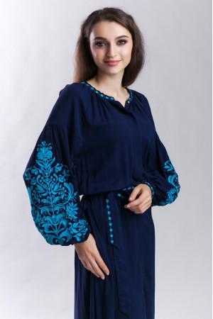 Сукня «Дерево життя» синя з бірюзовою вишивкою