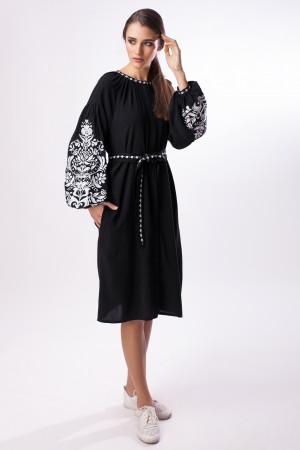 Платье «Дерево жизни» черное с белой вышивкой
